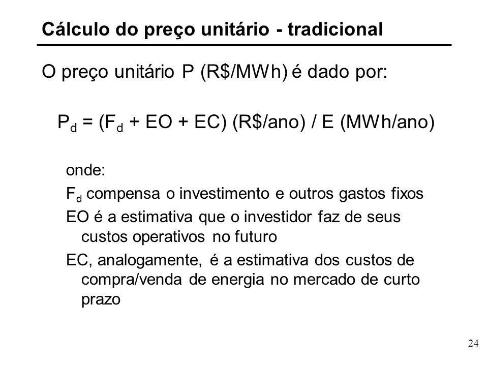 24 Cálculo do preço unitário - tradicional O preço unitário P (R$/MWh) é dado por: P d = (F d + EO + EC) (R$/ano) / E (MWh/ano) onde: F d compensa o investimento e outros gastos fixos EO é a estimativa que o investidor faz de seus custos operativos no futuro EC, analogamente, é a estimativa dos custos de compra/venda de energia no mercado de curto prazo
