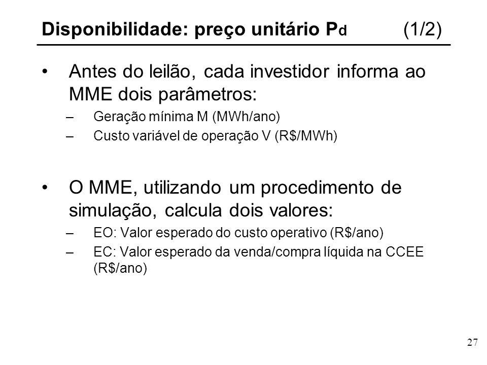 27 Disponibilidade: preço unitário P d (1/2) Antes do leilão, cada investidor informa ao MME dois parâmetros: –Geração mínima M (MWh/ano) –Custo variável de operação V (R$/MWh) O MME, utilizando um procedimento de simulação, calcula dois valores: –EO: Valor esperado do custo operativo (R$/ano) –EC: Valor esperado da venda/compra líquida na CCEE (R$/ano)