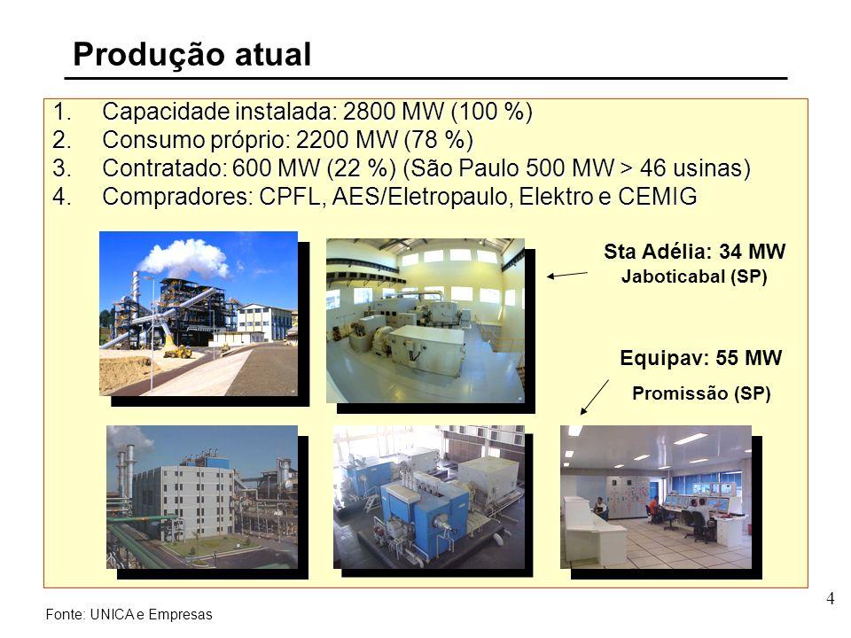 4 1.Capacidade instalada: 2800 MW (100 %) 2.Consumo próprio: 2200 MW (78 %) 3.Contratado: 600 MW (22 %) (São Paulo 500 MW > 46 usinas) 4.Compradores: CPFL, AES/Eletropaulo, Elektro e CEMIG Fonte: UNICA e Empresas Sta Adélia: 34 MW Jaboticabal (SP) Produção atual Equipav: 55 MW Promissão (SP)