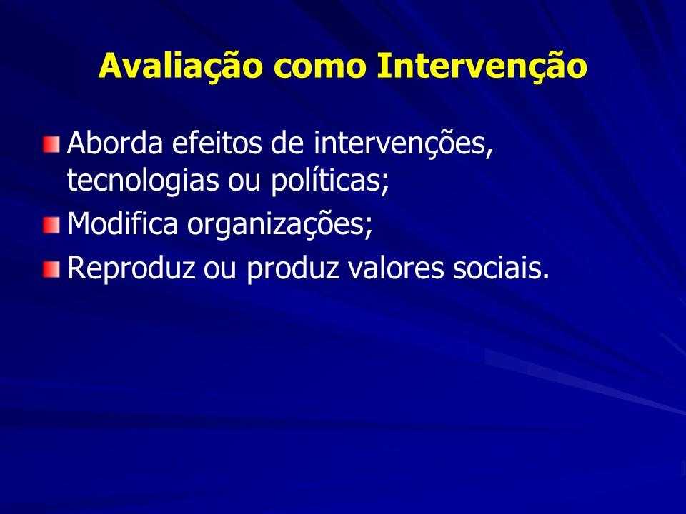 Avaliação como Intervenção Aborda efeitos de intervenções, tecnologias ou políticas; Modifica organizações; Reproduz ou produz valores sociais.