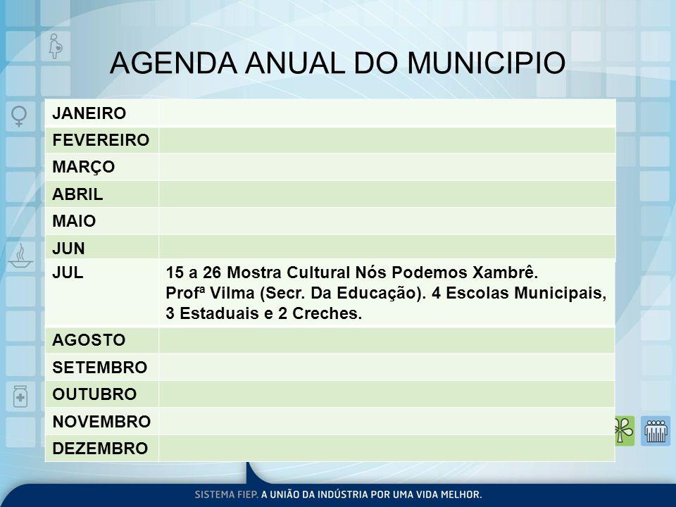 AGENDA ANUAL DO MUNICIPIO JANEIRO FEVEREIRO MARÇO ABRIL MAIO JUN JUL15 a 26 Mostra Cultural Nós Podemos Xambrê. Profª Vilma (Secr. Da Educação). 4 Esc