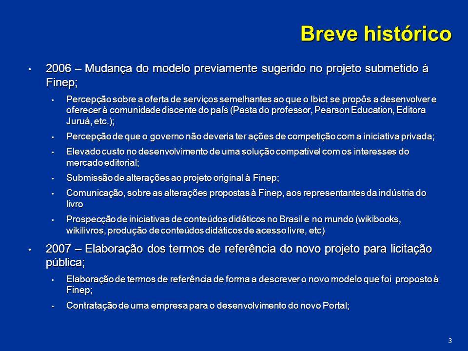 Breve histórico 2006 – Mudança do modelo previamente sugerido no projeto submetido à Finep; 2006 – Mudança do modelo previamente sugerido no projeto s