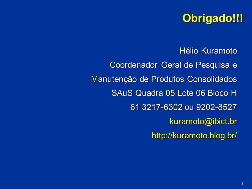 Obrigado!!! Hélio Kuramoto Coordenador Geral de Pesquisa e Manutenção de Produtos Consolidados Manutenção de Produtos Consolidados SAuS Quadra 05 Lote