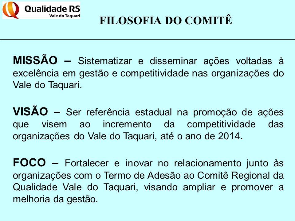 FILOSOFIA DO COMITÊ MISSÃO – Sistematizar e disseminar ações voltadas à excelência em gestão e competitividade nas organizações do Vale do Taquari. VI