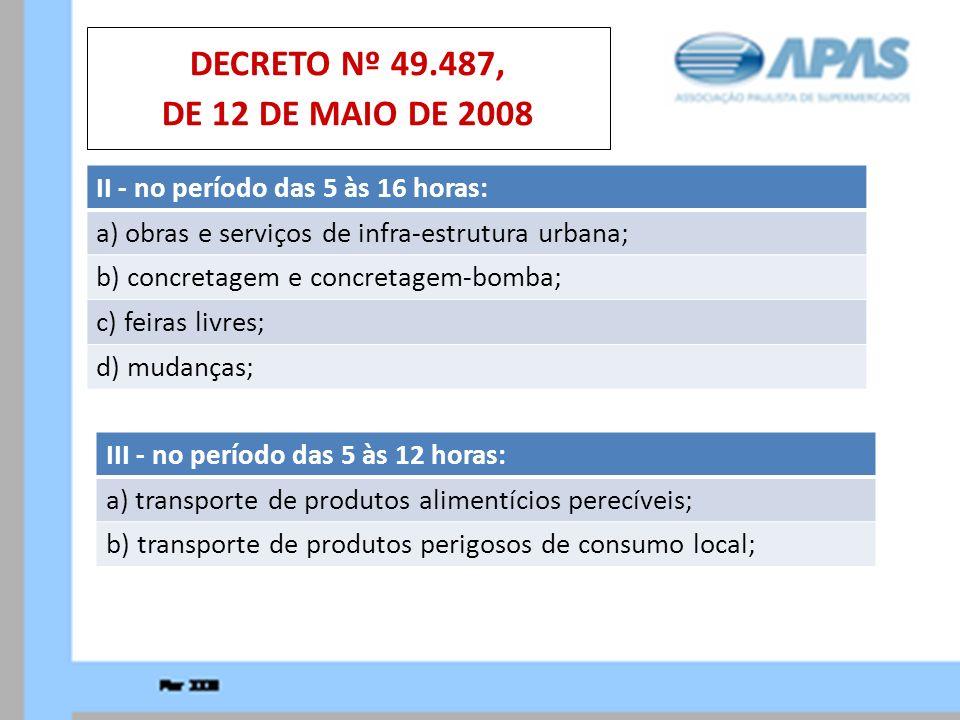 II - no período das 5 às 16 horas: a) obras e serviços de infra-estrutura urbana; b) concretagem e concretagem-bomba; c) feiras livres; d) mudanças; D