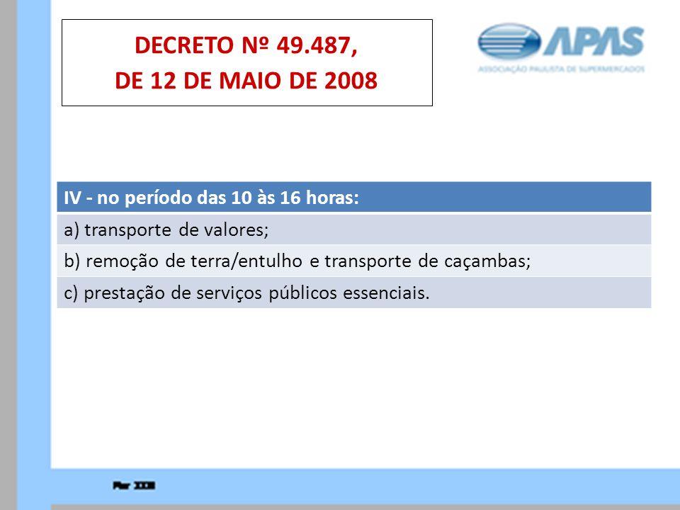 IV - no período das 10 às 16 horas: a) transporte de valores; b) remoção de terra/entulho e transporte de caçambas; c) prestação de serviços públicos