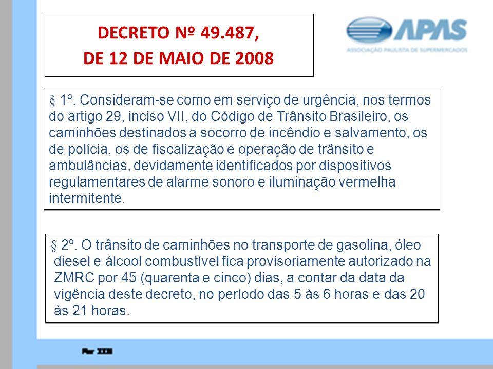 § 2º. O trânsito de caminhões no transporte de gasolina, óleo diesel e álcool combustível fica provisoriamente autorizado na ZMRC por 45 (quarenta e c
