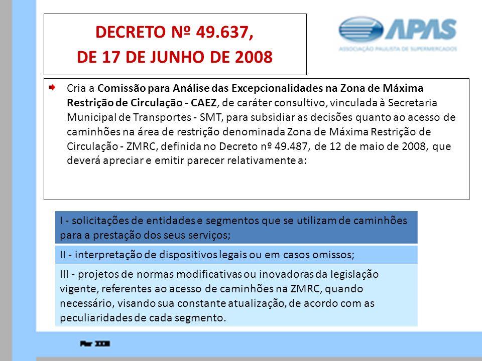 Cria a Comissão para Análise das Excepcionalidades na Zona de Máxima Restrição de Circulação - CAEZ, de caráter consultivo, vinculada à Secretaria Mun