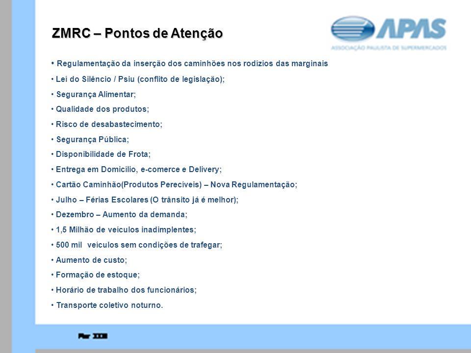 ZMRC – Pontos de Atenção Regulamentação da inserção dos caminhões nos rodízios das marginais Leí do Silêncio / Psiu (conflito de legislação); Seguranç