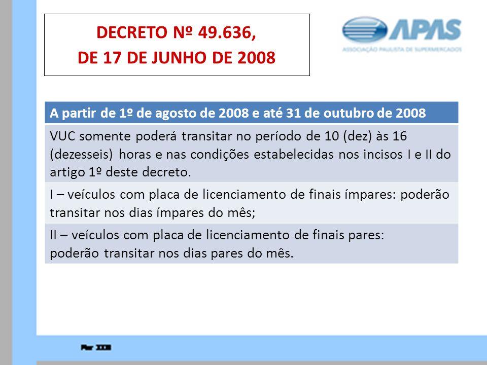 A partir de 1º de agosto de 2008 e até 31 de outubro de 2008 VUC somente poderá transitar no período de 10 (dez) às 16 (dezesseis) horas e nas condiçõ