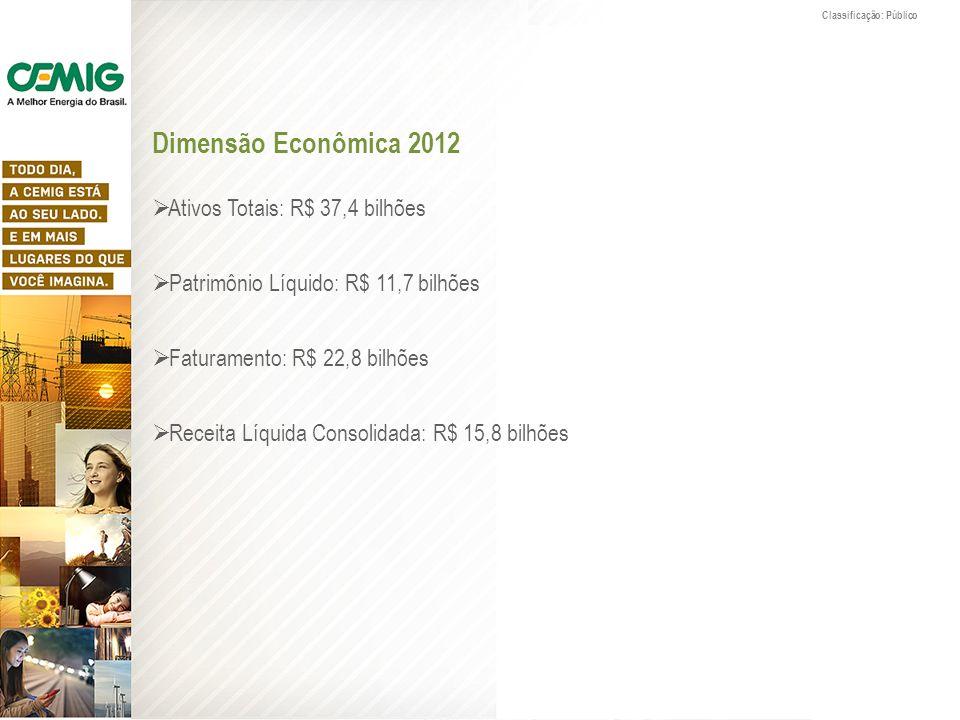 Dimensão Econômica 2012 Ativos Totais: R$ 37,4 bilhões Patrimônio Líquido: R$ 11,7 bilhões Faturamento: R$ 22,8 bilhões Receita Líquida Consolidada: R