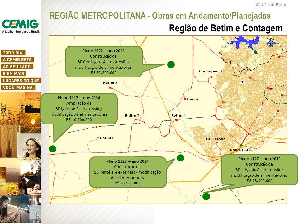Classificação: Público Região de Betim e Contagem Plano 1120 – ano 2014 Construção da SE Ibirité 1 e extensão/ modificação de alimentadores R$ 26.500.