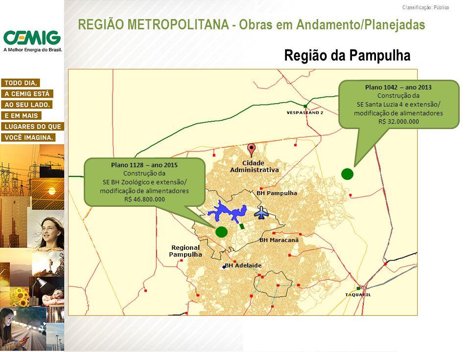 Classificação: Público REGIÃO METROPOLITANA - Obras em Andamento/Planejadas Região da Pampulha Plano 1128 – ano 2015 Construção da SE BH Zoológico e e