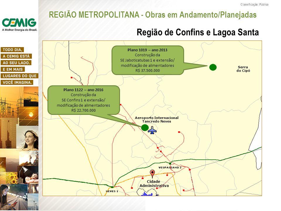 Classificação: Público Plano 1019 – ano 2013 Construção da SE Jaboticatubas 1 e extensão/ modificação de alimentadores R$ 37.500.000 Aeroporto Interna