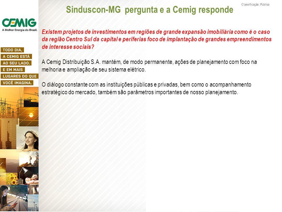 Classificação: Público Sinduscon-MG pergunta e a Cemig responde Existem projetos de investimentos em regiões de grande expansão imobiliária como é o c