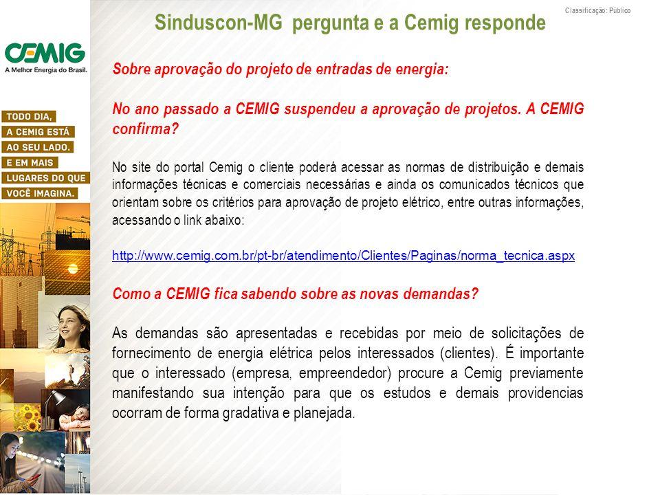 Classificação: Público Sobre aprovação do projeto de entradas de energia: No ano passado a CEMIG suspendeu a aprovação de projetos. A CEMIG confirma?