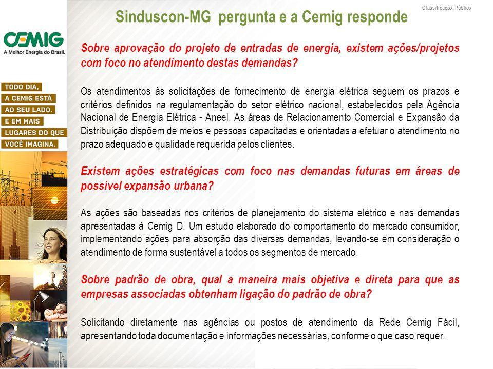 Classificação: Público Sobre aprovação do projeto de entradas de energia, existem ações/projetos com foco no atendimento destas demandas? Os atendimen