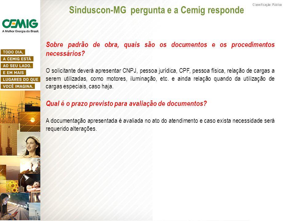 Classificação: Público Sobre padrão de obra, quais são os documentos e os procedimentos necessários? O solicitante deverá apresentar CNPJ, pessoa jurí