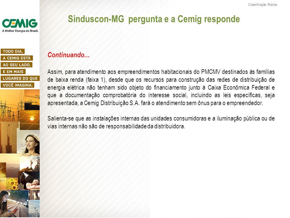 Classificação: Público Continuando... Assim, para atendimento aos empreendimentos habitacionais do PMCMV destinados às famílias de baixa renda (faixa