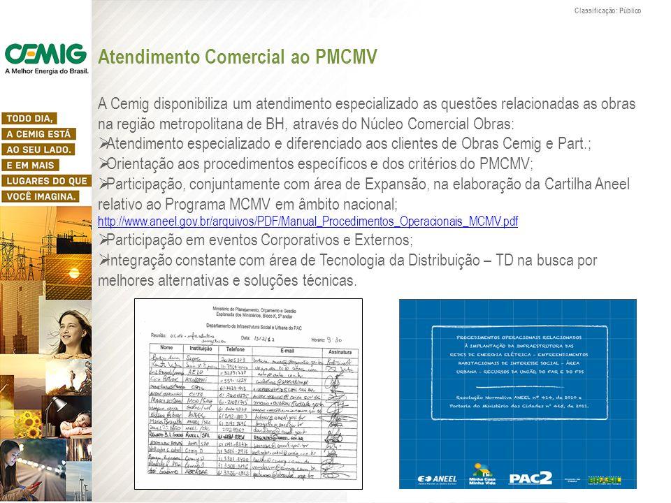 Classificação: Público Atendimento Comercial ao PMCMV A Cemig disponibiliza um atendimento especializado as questões relacionadas as obras na região m