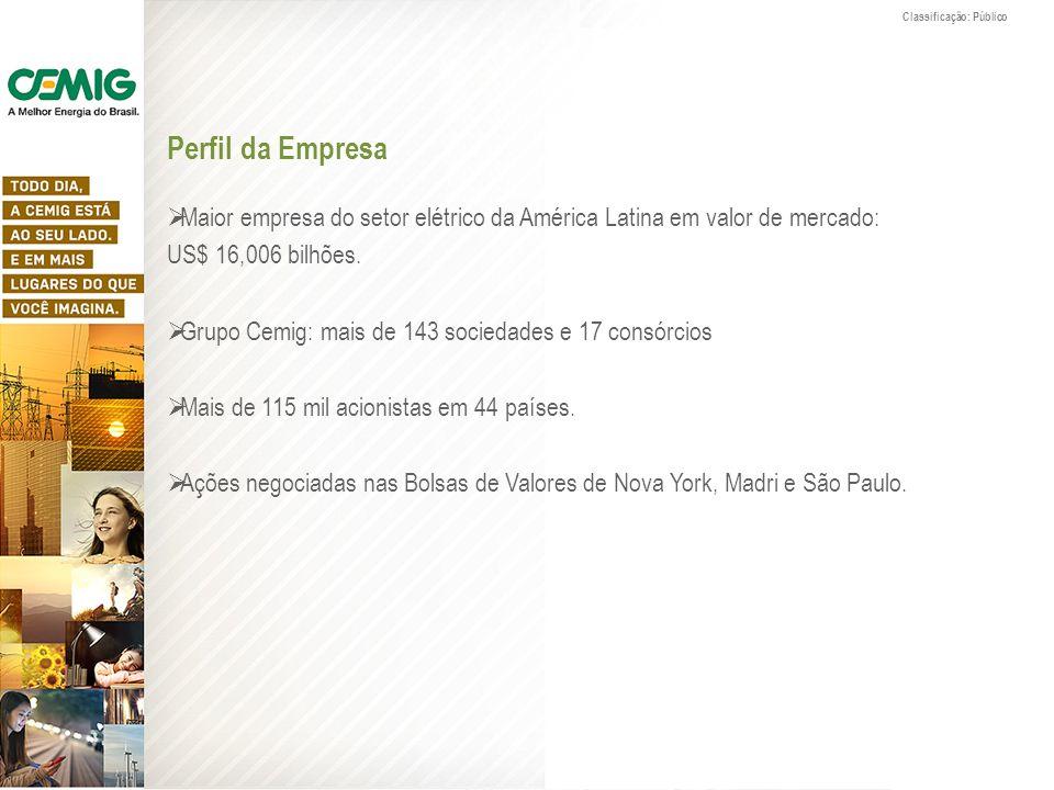 Perfil da Empresa Maior empresa do setor elétrico da América Latina em valor de mercado: US$ 16,006 bilhões. Grupo Cemig: mais de 143 sociedades e 17