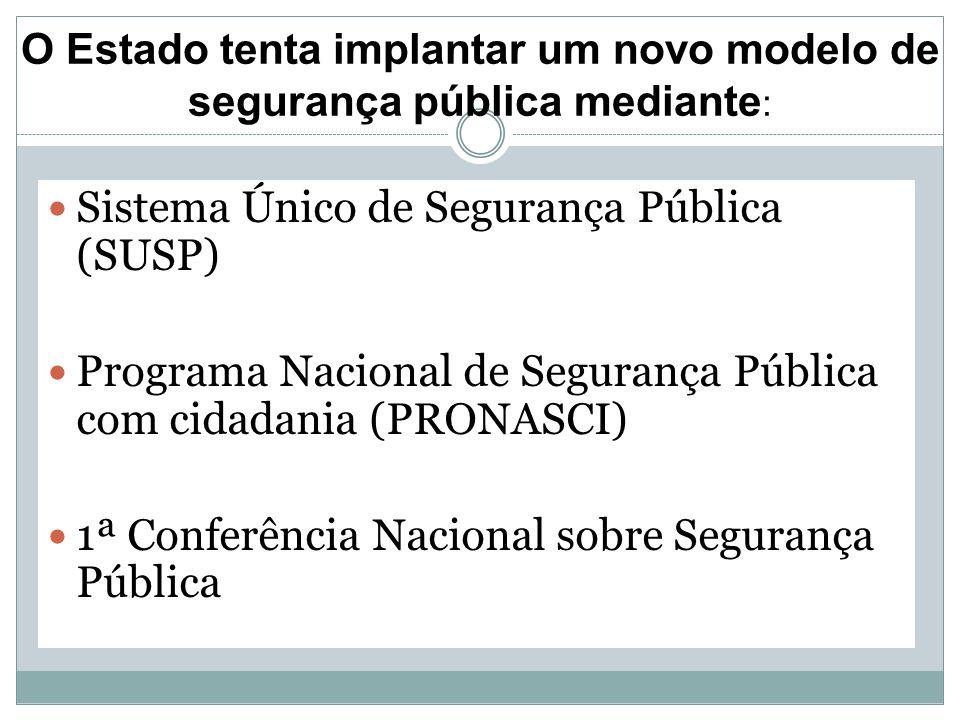 O Estado tenta implantar um novo modelo de segurança pública mediante : Sistema Único de Segurança Pública (SUSP) Programa Nacional de Segurança Públi