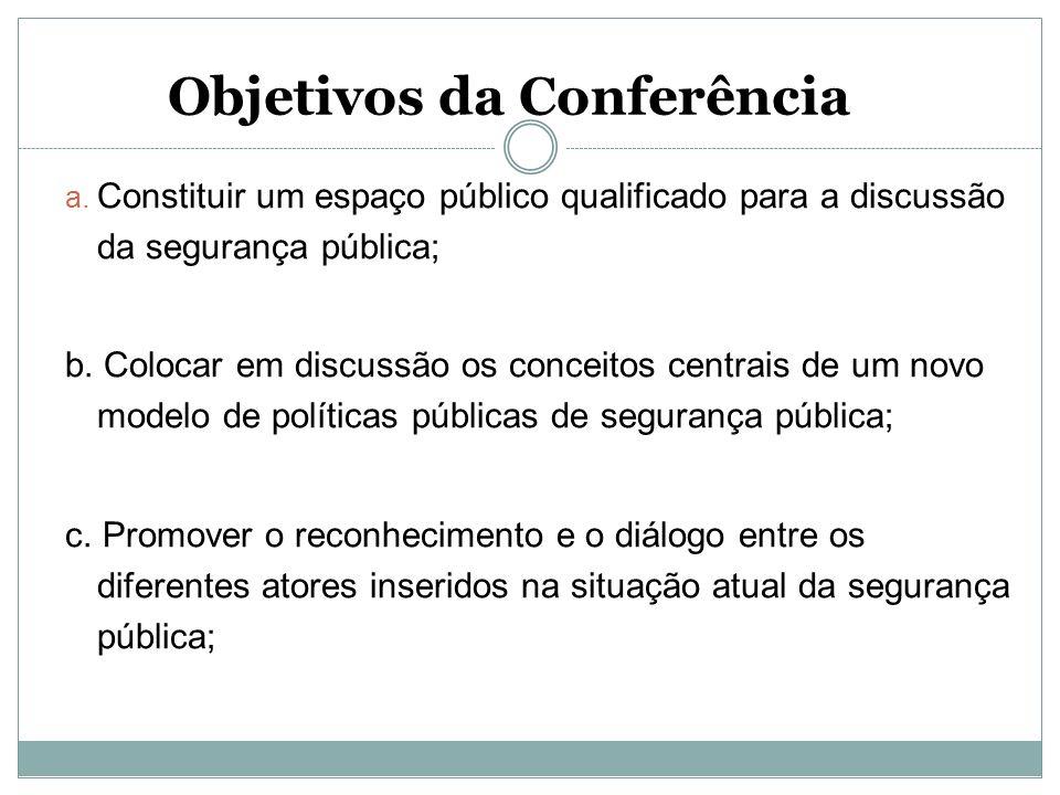 Objetivos da Conferência a. Constituir um espaço público qualificado para a discussão da segurança pública; b. Colocar em discussão os conceitos centr