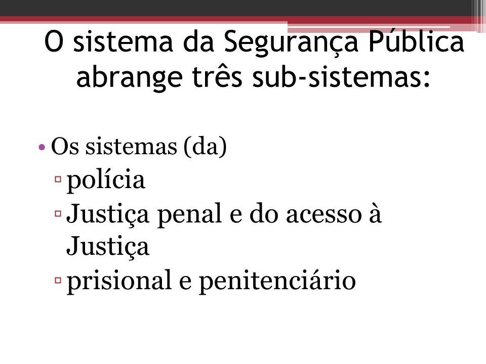 O sistema da Segurança Pública abrange três sub-sistemas: Os sistemas (da) polícia Justiça penal e do acesso à Justiça prisional e penitenciário