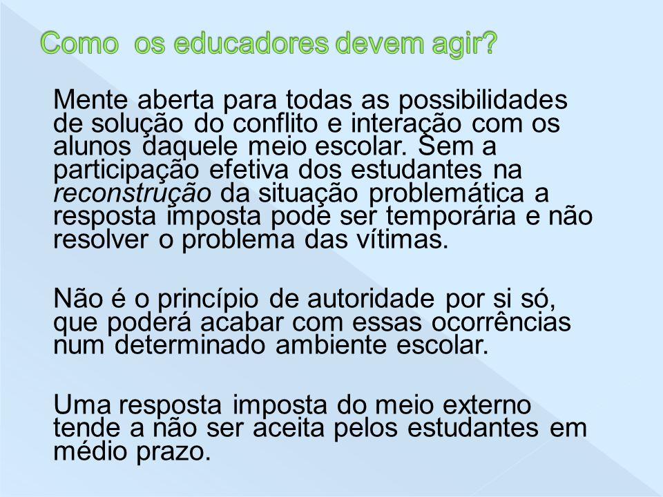 Mente aberta para todas as possibilidades de solução do conflito e interação com os alunos daquele meio escolar. Sem a participação efetiva dos estuda