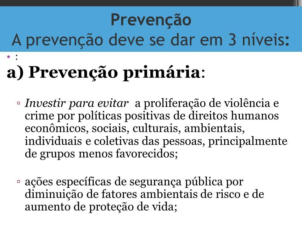 Prevenção A prevenção deve se dar em 3 níveis: : a) Prevenção primária: Investir para evitar a proliferação de violência e crime por políticas positiv