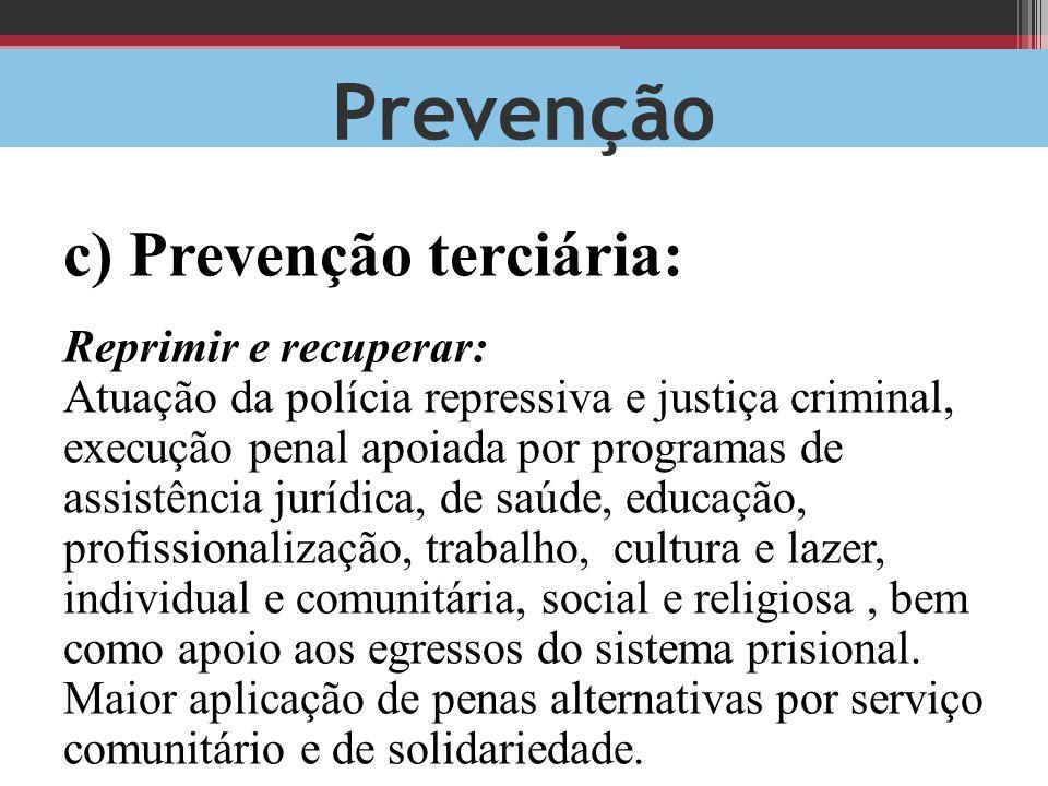 Prevenção c) Prevenção terciária: Reprimir e recuperar: Atuação da polícia repressiva e justiça criminal, execução penal apoiada por programas de assi