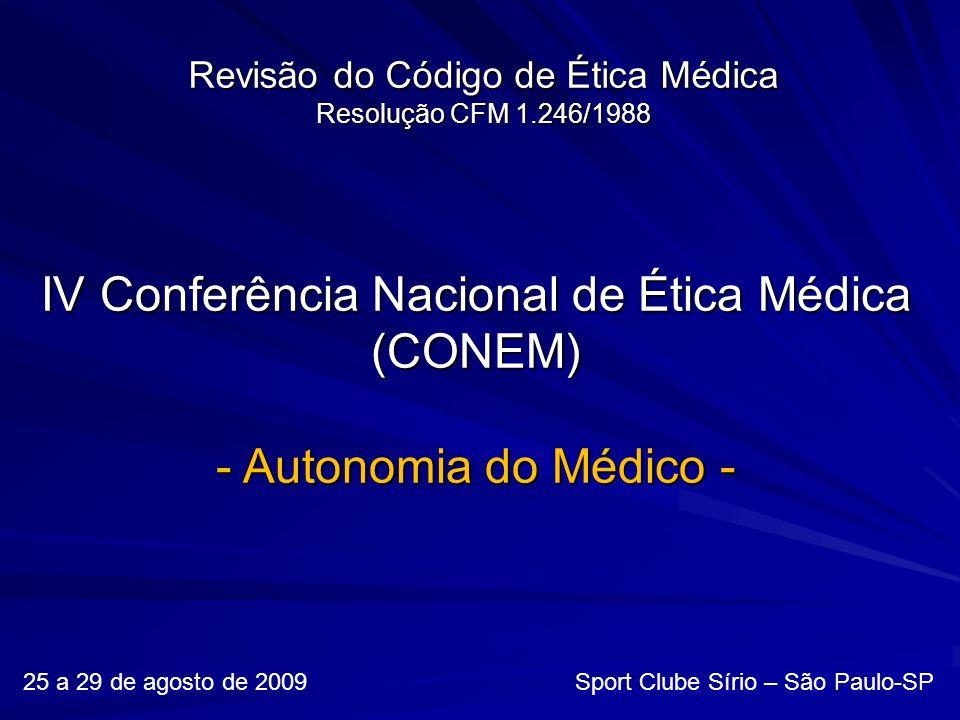Revisão do Código de Ética Médica Resolução CFM 1.246/1988 25 a 29 de agosto de 2009 Sport Clube Sírio – São Paulo-SP IV Conferência Nacional de Ética Médica (CONEM) - Autonomia do Médico -