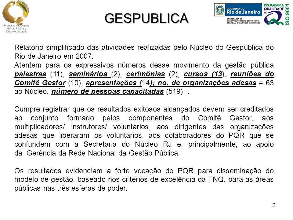 2 Relatório simplificado das atividades realizadas pelo Núcleo do Gespública do Rio de Janeiro em 2007: Atentem para os expressivos números desse movimento da gestão pública palestras (11), seminários (2), cerimônias (2), cursos (13), reuniões do Comitê Gestor (10), apresentações (14); no.