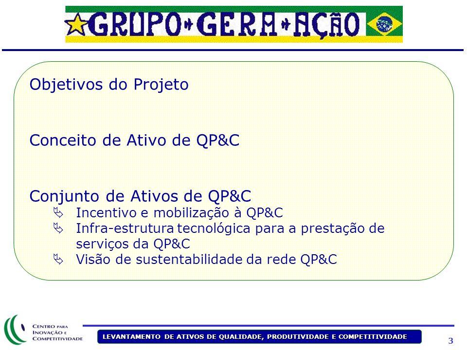 3 LEVANTAMENTO DE ATIVOS DE QUALIDADE, PRODUTIVIDADE E COMPETITIVIDADE Objetivos do Projeto Conceito de Ativo de QP&C Conjunto de Ativos de QP&C Incentivo e mobilização à QP&C Infra-estrutura tecnológica para a prestação de serviços da QP&C Visão de sustentabilidade da rede QP&C