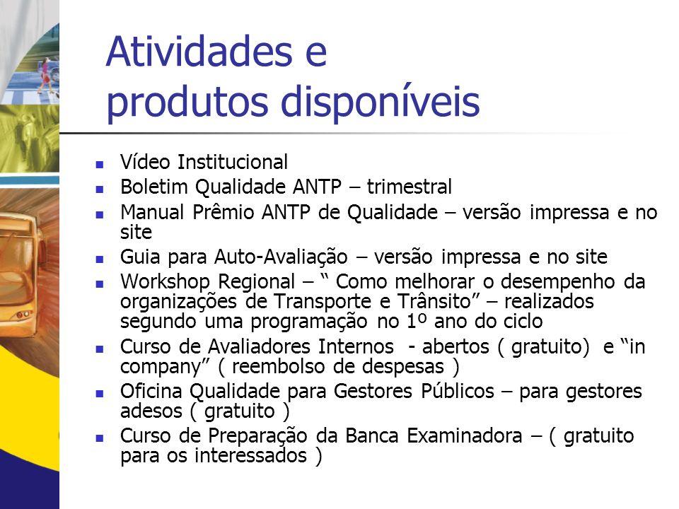 Atividades e produtos disponíveis Vídeo Institucional Boletim Qualidade ANTP – trimestral Manual Prêmio ANTP de Qualidade – versão impressa e no site