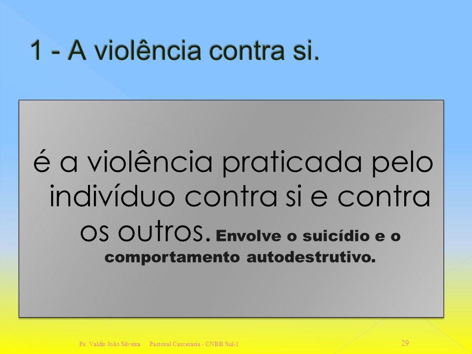 A Organização Mundial da Saúde, em termos de saúde classifica a violência nas seguintes categorias: 1. - violência contra si mesmo (Intrapessoal); 2.