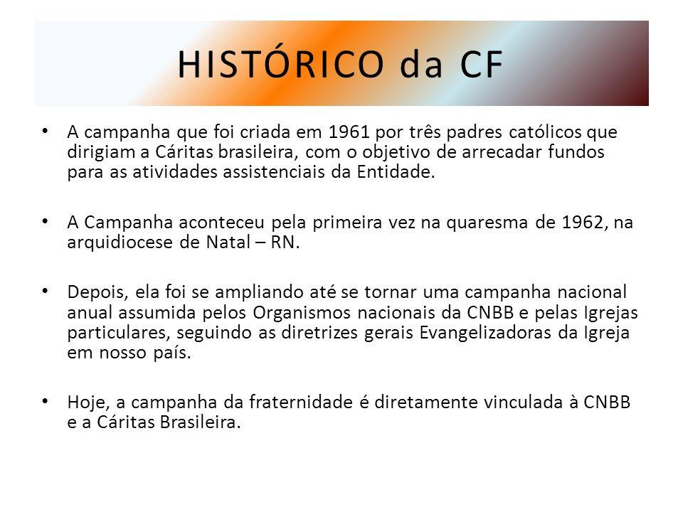 HISTÓRICO da CF A campanha que foi criada em 1961 por três padres católicos que dirigiam a Cáritas brasileira, com o objetivo de arrecadar fundos para as atividades assistenciais da Entidade.