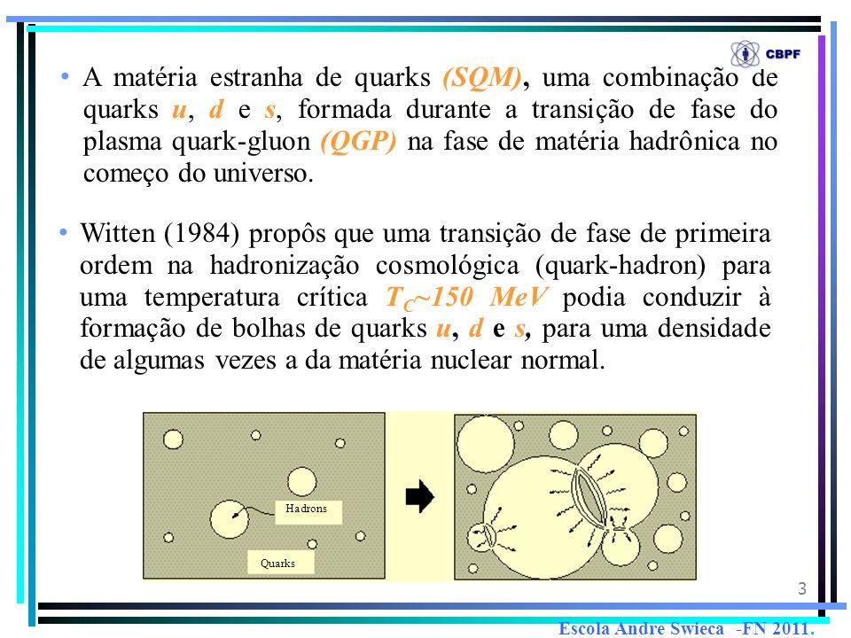 3 A matéria estranha de quarks (SQM), uma combinação de quarks u, d e s, formada durante a transição de fase do plasma quark-gluon (QGP) na fase de ma