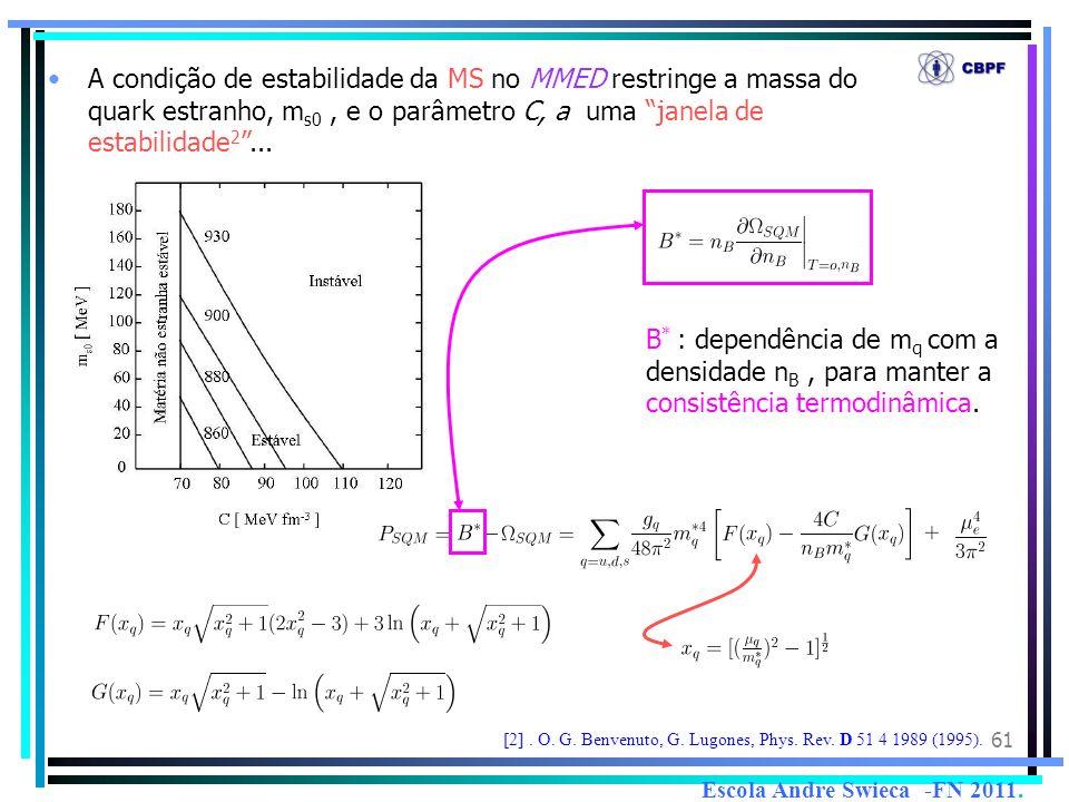 61 A condição de estabilidade da MS no MMED restringe a massa do quark estranho, m s0, e o parâmetro C, a uma janela de estabilidade 2... [2]. O. G. B