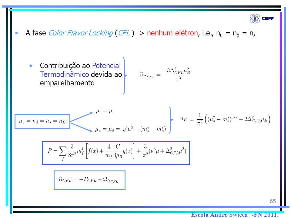 65 A fase Color Flavor Locking (CFL ) -> nenhum elétron, i.e., n u = n d = n s Contribuição ao Potencial Termodinâmico devida ao emparelhamento Escola