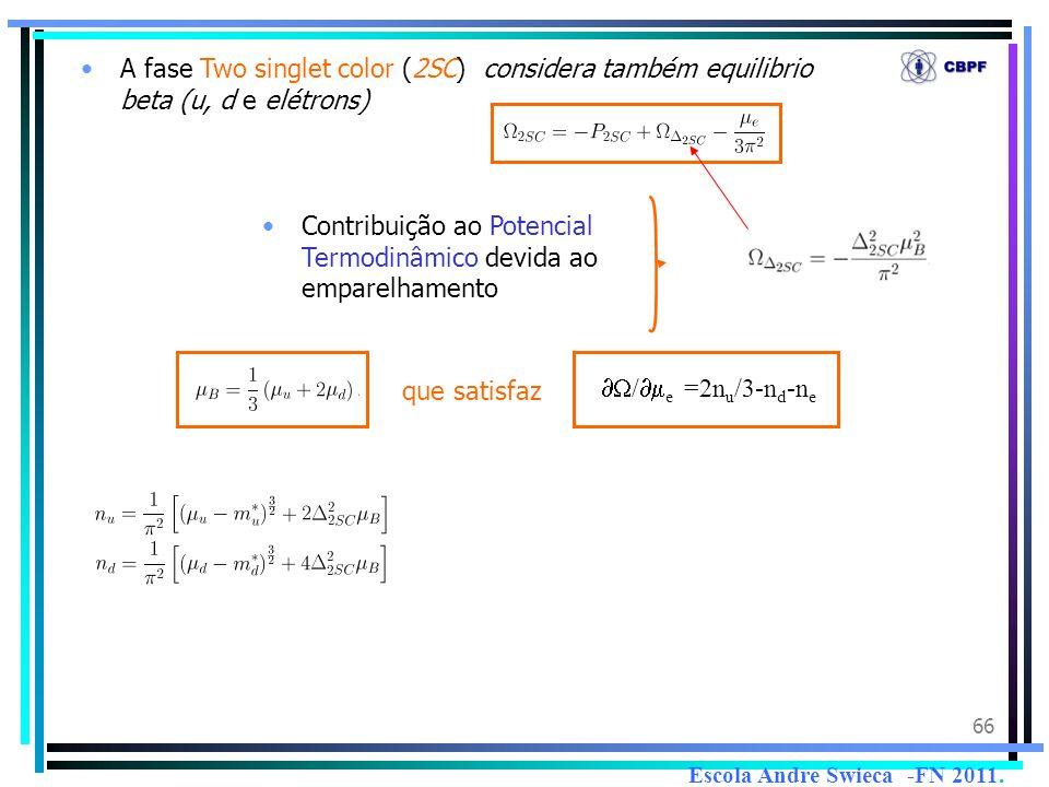 66 A fase Two singlet color (2SC) considera também equilibrio beta (u, d e elétrons) Contribuição ao Potencial Termodinâmico devida ao emparelhamento