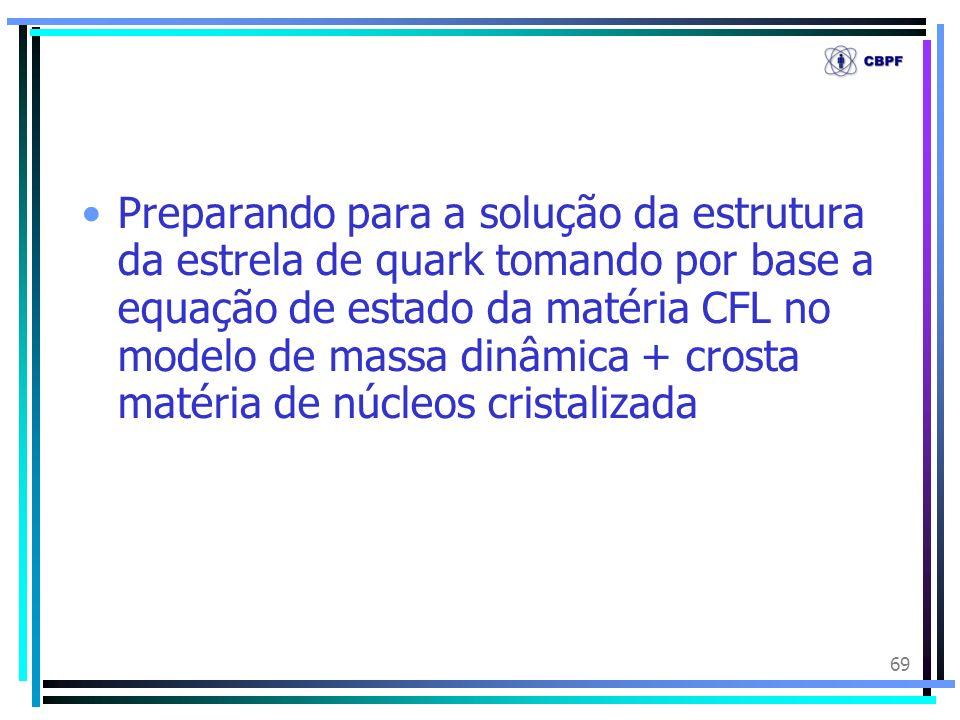 69 Preparando para a solução da estrutura da estrela de quark tomando por base a equação de estado da matéria CFL no modelo de massa dinâmica + crosta