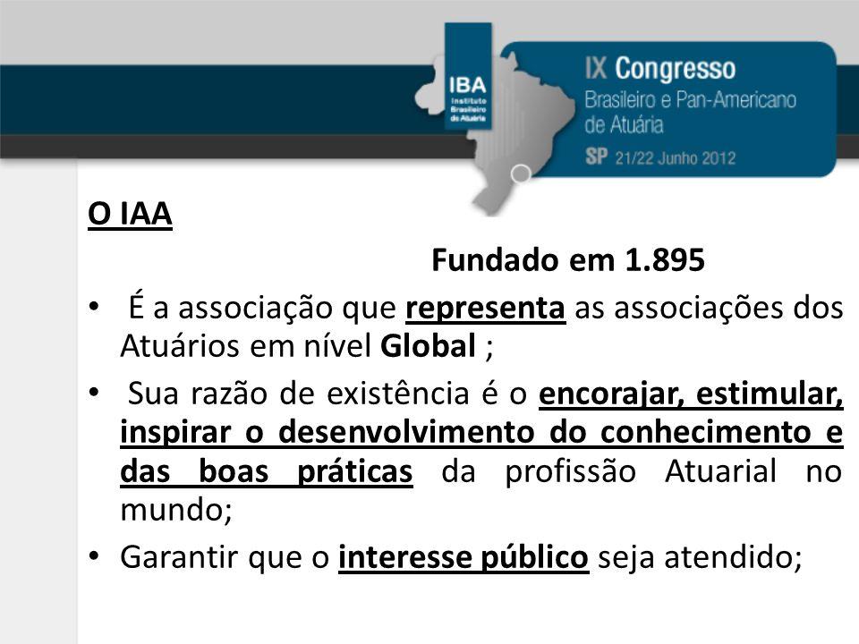 O IAA Fundado em 1.895 É a associação que representa as associações dos Atuários em nível Global ; Sua razão de existência é o encorajar, estimular, inspirar o desenvolvimento do conhecimento e das boas práticas da profissão Atuarial no mundo; Garantir que o interesse público seja atendido;