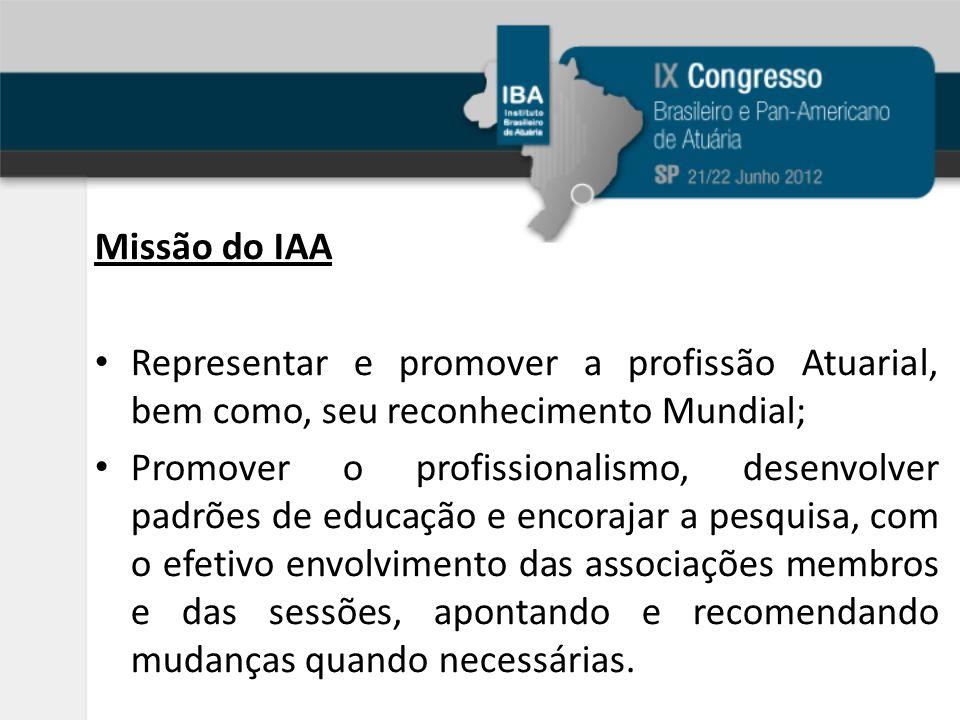 Missão do IAA Representar e promover a profissão Atuarial, bem como, seu reconhecimento Mundial; Promover o profissionalismo, desenvolver padrões de educação e encorajar a pesquisa, com o efetivo envolvimento das associações membros e das sessões, apontando e recomendando mudanças quando necessárias.