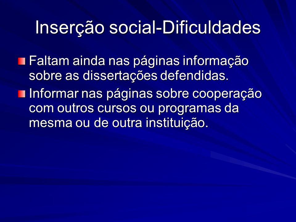 Inserção social-Dificuldades Faltam ainda nas páginas informação sobre as dissertações defendidas. Informar nas páginas sobre cooperação com outros cu