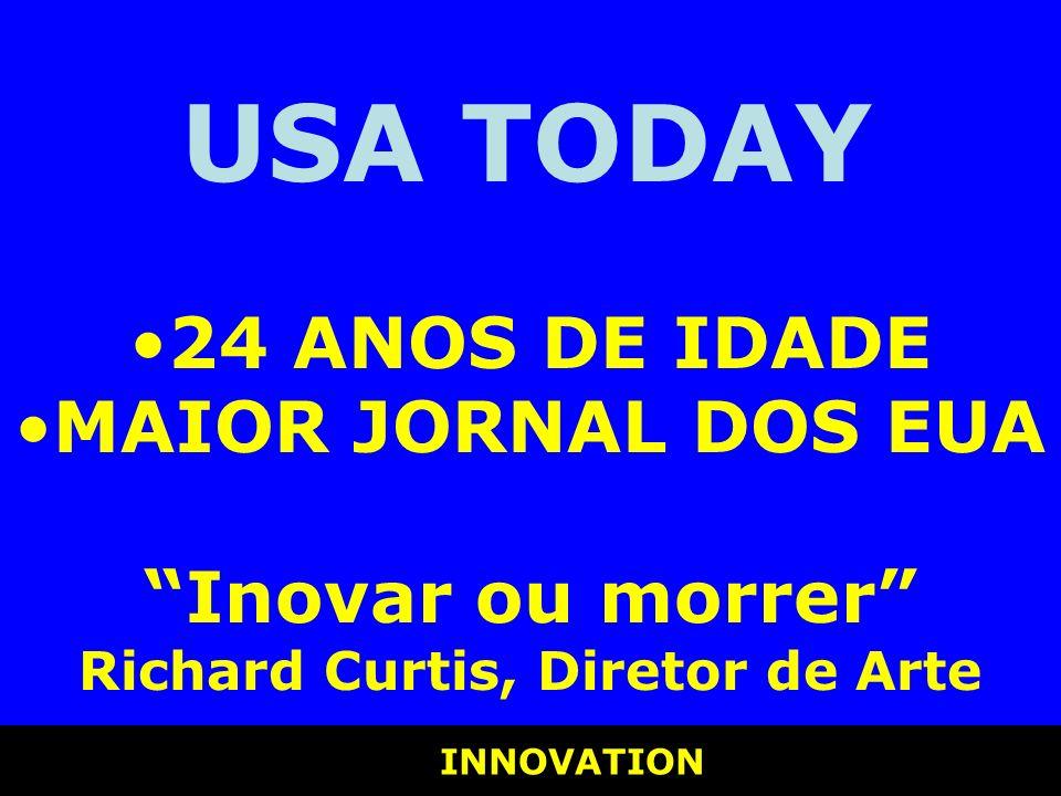 INNOVATION INNOVATION USA TODAY 24 ANOS DE IDADE MAIOR JORNAL DOS EUA Inovar ou morrer Richard Curtis, Diretor de Arte
