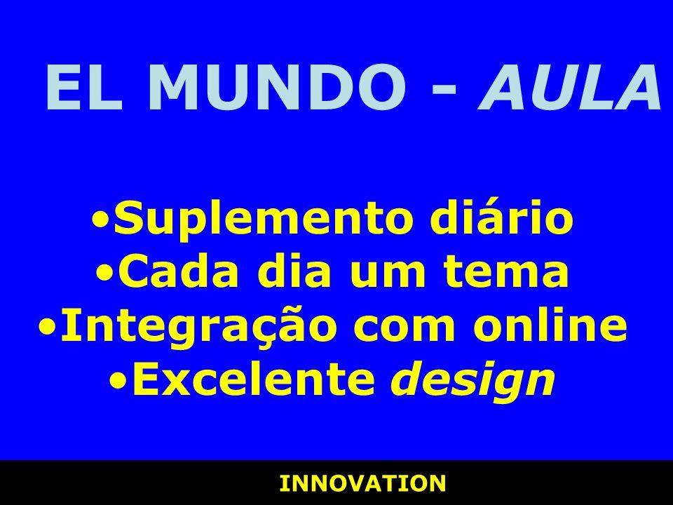 INNOVATION INNOVATION EL MUNDO - AULA Suplemento diário Cada dia um tema Integração com online Excelente design