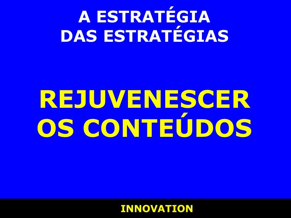 INNOVATION INNOVATION A ESTRATÉGIA DAS ESTRATÉGIAS REJUVENESCER OS CONTEÚDOS
