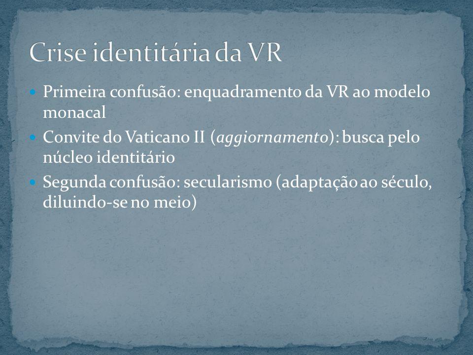 Primeira confusão: enquadramento da VR ao modelo monacal Convite do Vaticano II (aggiornamento): busca pelo núcleo identitário Segunda confusão: secul