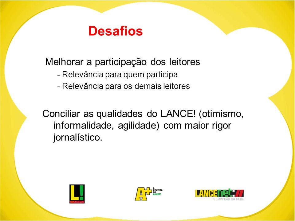 Desafios Melhorar a participação dos leitores - Relevância para quem participa - Relevância para os demais leitores Conciliar as qualidades do LANCE!